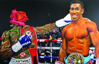 "O Yemi Tubi, ""AJ Omo Oduduwa: The World Champion"", oil on canvas, 120 x 76cm, c. 2017. This painting"