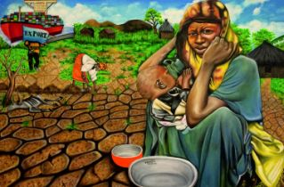 """O Yemi Tubi, """"Hunger in the Land of Plenty"""", oil on canvas, 91 x 61cm, c. 2015. """"Hunger in the"""