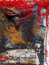 """Peter Musami, """"Bvumbamira/Protect"""", mixed media, 94 x 122cm, c. 2021. Textural gestures resonate"""