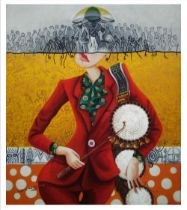 """Kalu Uche Karis, """"Oyibo Gangan (while talking drum)"""", acrylic and oil on stretched canvas, 89 x"""