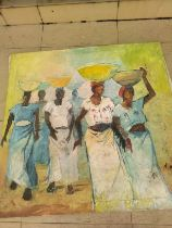 """Ufuoma Onobrakpeya, """"Fulani Milk Maidens"""", oil on canvas, 112 x 110cm, c. 2011. This is a painting"""