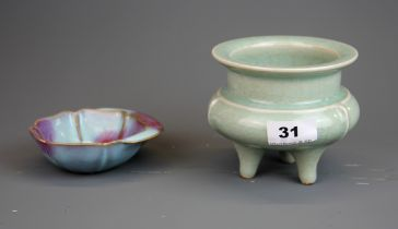 A Chinese celadon crackle glazed three foot censer, H. 11, Dia. 12cm, together with a small Zhun