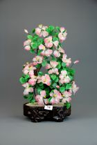 A Chinese glass bonsai sculpture, H. 49cm.