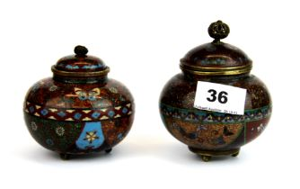 Two 19th Century Japanese Meiji period (1868-1912) cloisonne bowls and covers, tallest 11cm.