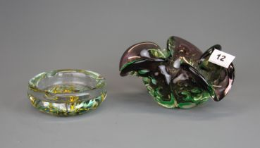 A 1970's Murano glass bowl together with an LG ashtray.