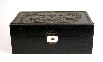 A Chinese carved black hardwood box, 30 x 18 x 12cm.