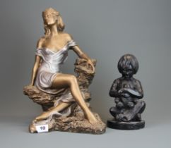 A bronzed finished ceramic sculpture by Austin Sculpture signed Alice Heath, H. 41cm (small chips to