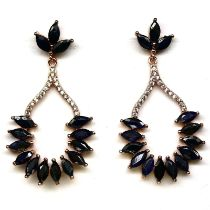 A pair of 925 silver rose gold gilt drop earrings set with marquise cut sapphires, L. 4.5cm.