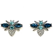 A pair of 925 silver bee shaped stud earrings set with London blue topaz and white stones, L. 1cm.