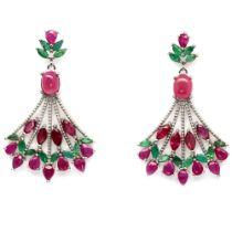 A pair of 925 silver drop earrings set with rubies and emeralds, L. 4.6cm.