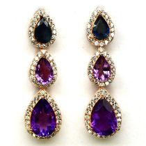 A pair of 925 silver rose gold gilt drop earrings set with pear cut amethysts and sapphire