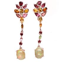 A pair of 925 silver drop earrings set with cabochon cut opal and mixed colour tourmalines, L. 5cm.
