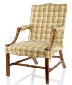 AN 18TH CENTURY GAINSBOROUGH ARMCHAIR BELIEVED TO HAVE BEEN THE PROPERTY OF JONAS HANWAY, FOUNDER