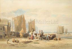 ATTRIB. TO THOMAS MILES RICHARDSON JR (BRITISH, 1813-1890) : Sorting fish, Northumberland