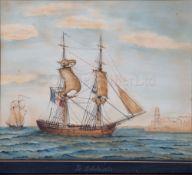 JOSEPH HONORÉ MAXIME PELLEGRIN (FRENCH, 1793-1869): 'Le Solide' off Marseilles, 1862