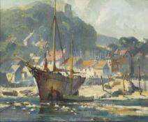 δ LESLEY ARTHUR WILCOX (BRITISH, 1904-1982) : Safe harbour; Anti-fowling on a Cornish beach