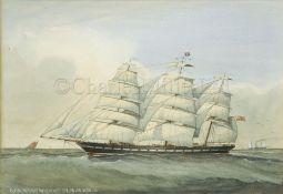J. HALL (BRITISH, 19-20TH CENTURY) : Clipper 'Miltiades' - Aberdeen White Starline, John Wilson