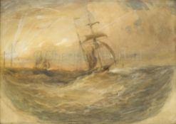 OSWALD WALTER BRIERLY (BRITISH, 1817-1894) : Boyd's 'Wanderer' running back to Plymouth Sound