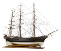 AN IMPRESSIVE 19TH-CENTURY DOCKYARD-TYPE MODEL FOR A THREE-MASTER IDENTIFIED AS THE 'NEGRISUOLA',