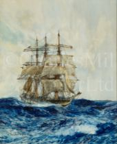 CHARLES EDWARD DIXON (BRITISH, 1872–1934) : A windbagger in rough seas