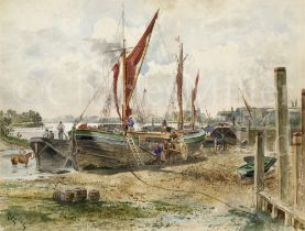 H. FULLER (ENGLISH, EARLY 20TH CENTURY) : Beached sailing barges at low tide on the upper Thames