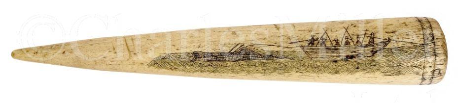 Ø A SCRIMSHAW DECORATED WHALEBONE FID, CIRCA 1860