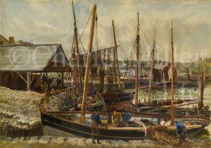 THOMAS MARIE MADAWASKA HEMY (BRITISH, 1852-1937) : Fishing boats, Peel Harbour, Isle of Man