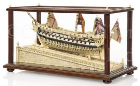 A NAPOLEONIC PRISONER OF WAR STYLE LAUNCHING MODEL FOR THE 74-GUN SHIP 'ORION'