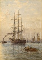 ATTRIBUTED TO GEORGE STANFIELD WALTERS (BRITISH, 1838-1924) : A square rigger being tugged up the