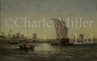 WILLIAM CALCOTT KNELL (BRITISH, 1830-1880) Estuary scene at sunset