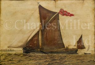 ENGLISH PRIMITIVE SCHOOL, CIRCA 1890 : The sprit sail barge 'Annie'
