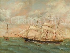 ENGLISH PRIMITIVE SCHOOL, LATE 19TH CENTURY : The barque 'Trafalgar' passing a light ship