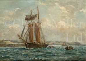 δ BERNARD FINNEGAN GRIBBLE (BRITISH, 1873-1962) : A topsail schooner in the Carrick Roads, Cornwall