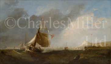 CIRCLE OF WILLIAM CALLOW (BRITISH, 1812–1908) : Fishing boats at a harbour entrance