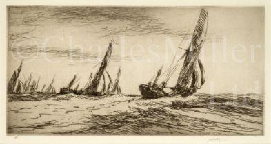 δ JAMES MCBEY (BRITISH, 1883-1959) : The Thames barge race, the start, 1935; The Thames barge race,