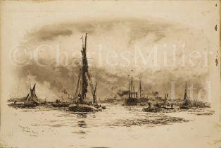 WILLIAM LIONEL WYLLIE (BRITISH, 1851-1931) : Showery Day, Greenwich Reach; Square-rigged ships