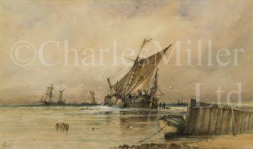 ALBERT ERNEST MARKES (BRITISH, 1865-1901) : A Dutch bouyer unloading a catch