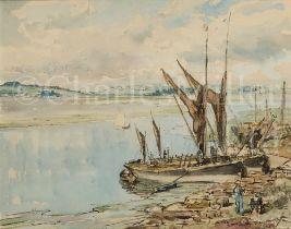 δ JAMES MCBEY (BRITISH, 1883-1959) : Thames barges at Mistley, Essex