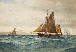 FREDERICK JAMES ALDRIDGE (BRITISH, 1850-1933) In Seaford Bay – trawlers off Seven Sisters