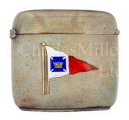A BRASS AND ENAMEL VESTA OWNED BY THE FOUNDER & FIRST COMMODORE OF THE ROYAL CRUISING CLUB, c1902