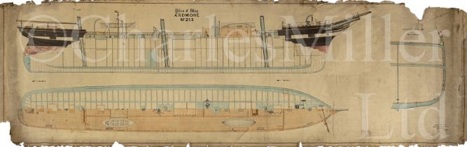 'DECK PLAN OF SHIP No. 253': A ¼IN:1FT SCALE PROFILE WATERCOLOUR LINE DRAWING FOR THE ARDMORE, BY