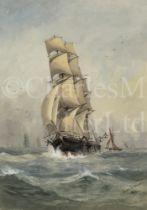 HORACE X. BROWNE, BRITISH 19TH/20TH CENTURY A full rigged merchantman underway