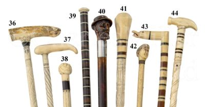 Ø A 19TH CENTURY WHALEBONE AND MARINE IVORY SAILORWORK WALKING STICK POSSIBLE FOR SHIPS CARPENTER