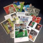 Football Legends collection 12 assorted signed magazine photos some great names includes Bobby