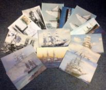 Nautical vintage post card collection includes 14 cards subject such as Liverpool to Douglas