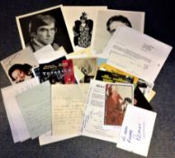 Stage and Screen collection over 30 signed items includes photos, letters, theatre flyers and
