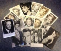 Movie collection 15 vintage black and 6x4 white photos printed signatures from some legendary