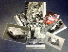 Motor Racing Collection 8 assorted vintage photos printed signatures from some legends of the