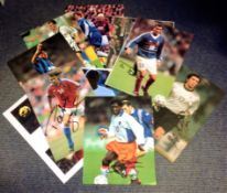 Football Legends collection 10 assorted signed colour magazine photos great names Tor Andre Flo,