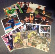 Football Legends collection 11 assorted signed colour magazine photos great names include Niall